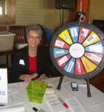 Judy Taylor and Our Luncheon Raffle Wheel